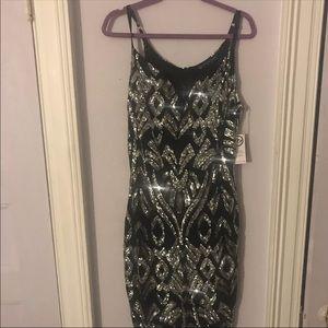 2X FTF Black Silver Sequin Dress
